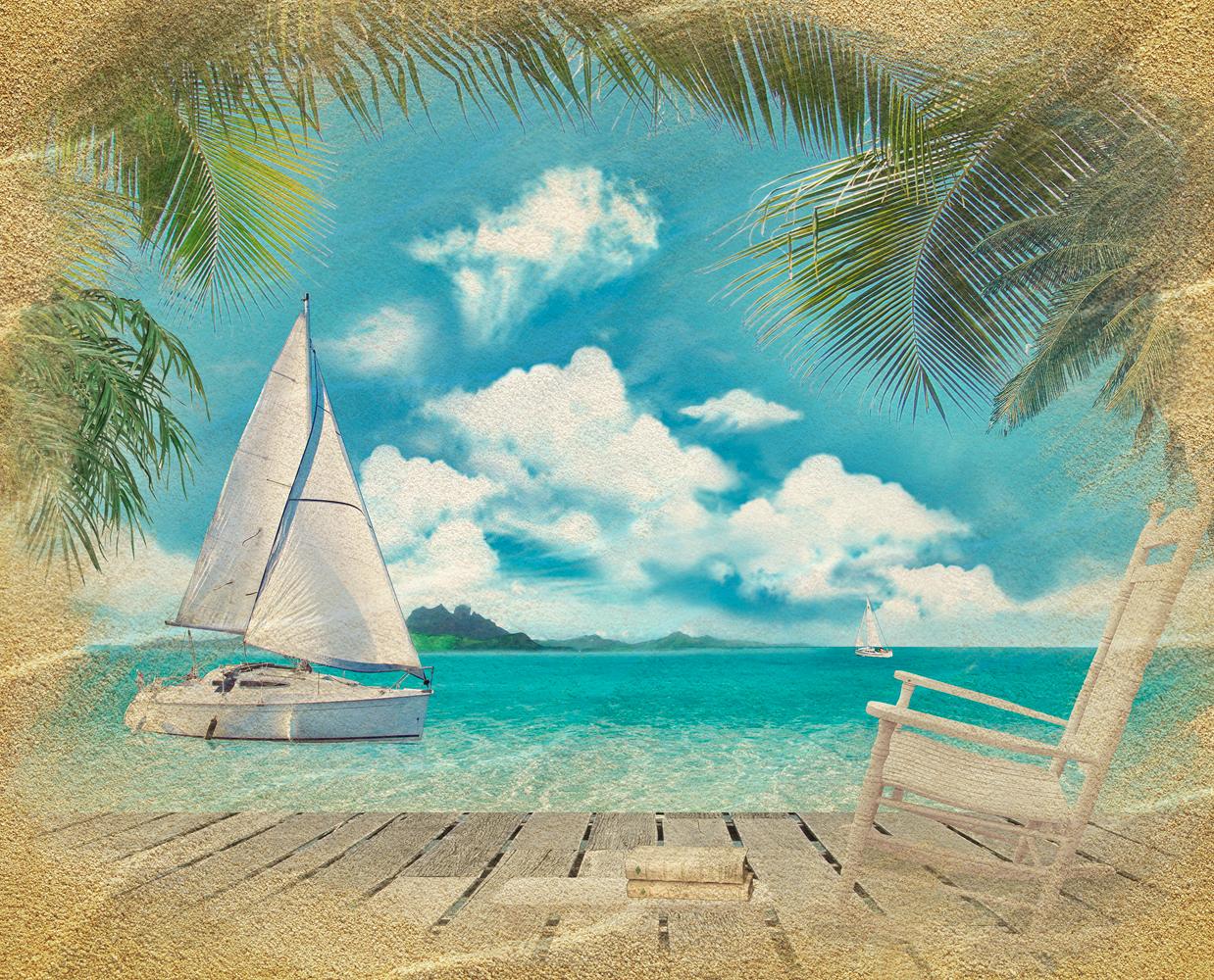 Картинка море пляж пальмы яхта